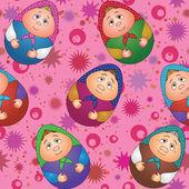 Bezszwowe, lalki i abstrakcyjny wzór — Zdjęcie stockowe