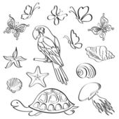 Exotic fauna, outline, set — Stock Photo