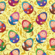Seamless, dolls and floral pattern — ストック写真