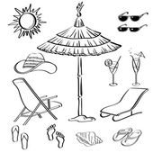 Summer objects, outline — Stock Photo