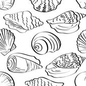 Seamless background, outline seashells — Stock Photo