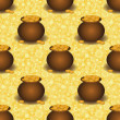 Seamless background, pots with gold - Stock Photo