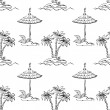 Seamless exotic pattern, outline — Stock Photo