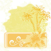 Exotic background, palm and flowers — Stock Photo