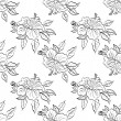 Seamless floral background, outline — Stockfoto