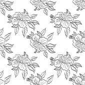 Seamless floral background, outline — Stock Photo