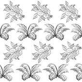 Bezešvé květinové pozadí, obrys — Stock vektor