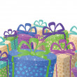 Holiday gift boxes, background — Stock Photo