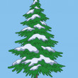 Christmas tree, snow and sky — Stock Photo