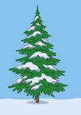Albero di natale, neve e cielo — Foto Stock