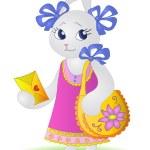 Rabbit with a celebratory card — Stock Photo #30904629