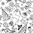 Christmas seamless pattern, contour — 图库照片