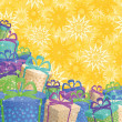 Holiday gift boxes, background — Stok fotoğraf