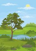 Paisagem, pinheiro e lago — Vetor de Stock