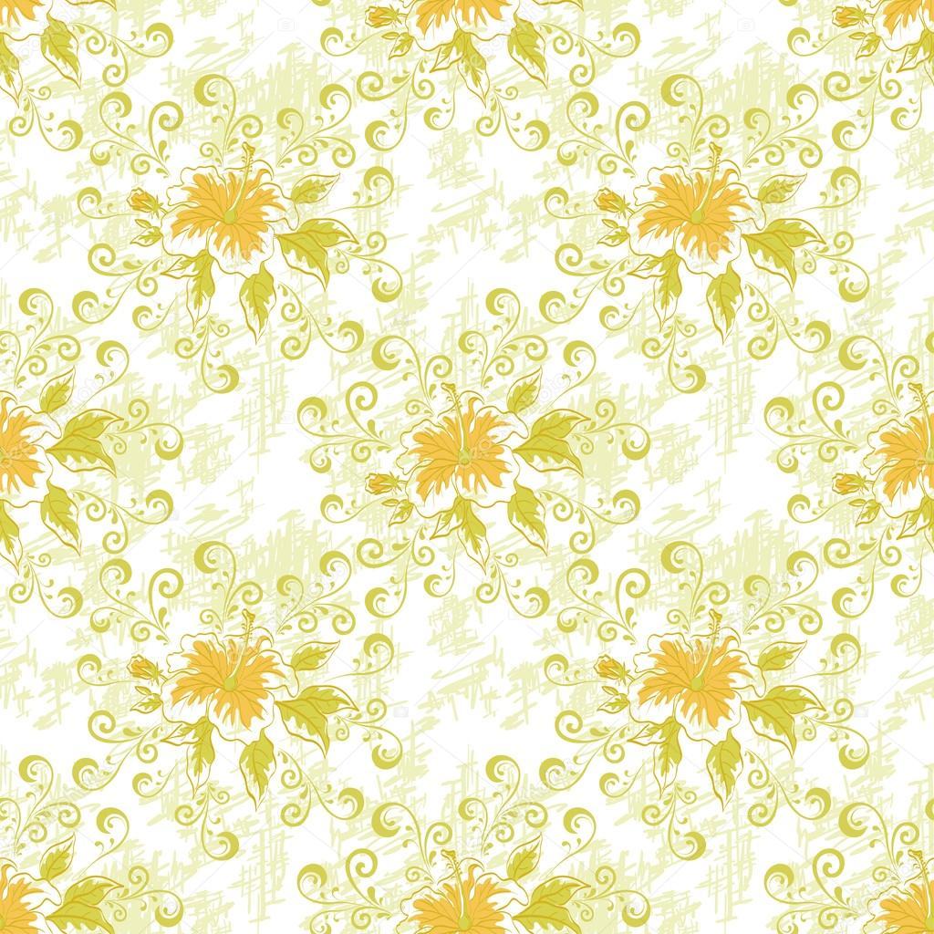 无缝的花卉背景, 芙蓉花和叶子和抽象的图案– 图库图片
