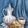 Постер, плакат: Painting: jug bread and coffee cup