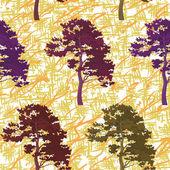 Bezszwowe drzew i abstrakcyjny wzór — Wektor stockowy