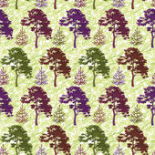 Seamless, trees and abstract pattern — Stock Photo