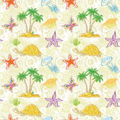 Seamless pattern, palm trees and sea animals — Stock Vector