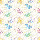 Seamless pattern, outline colorful butterflies — Vetorial Stock