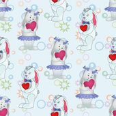 Seamless pattern, Bunnies with Valentine hearts — Stock Vector