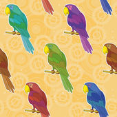 Seamless background, colorful parrots — Stock Vector