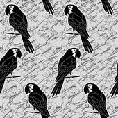 Seamless pattern, black and white parrots — Stock Vector