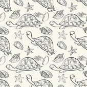Seamless pattern, marine animals contours — Stock Vector