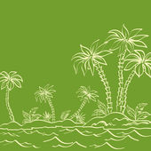 Sea island with palm trees contours on green — Stock Vector