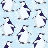 Seamless pattern, penguins and snowflakes — Stock Vector
