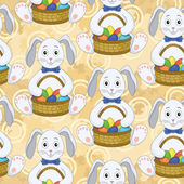 Seamless pattern, Bunnies with Easter eggs — Stock Vector