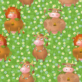 Seamless pattern, cartoon cows on a meadow — Stock Vector