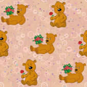 Seamless pattern, teddy bears and gifts flowers — Stock Vector