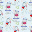 Seamless pattern, Bunnies with Valentine hearts — Stock Photo #50964991