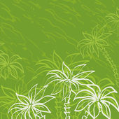 Palm trees contours on green background — Stock Photo