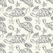 Seamless pattern, marine animals contours — Stock Photo