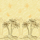 Seamless pattern, palm trees and butterflies contours — Stock Photo
