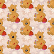Seamless pattern, teddy bear with Christmas bag — Stock Photo #51043269