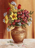 Painting, garden flowers in a clay amphora — Stock Photo