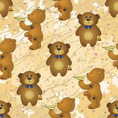 Seamless pattern, teddy bears with toys — Stock Photo