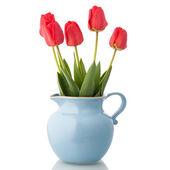 Tulips in jar — Stock Photo