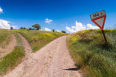 Tuscan forked road — Stock Photo