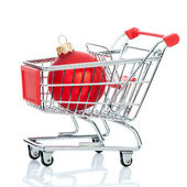 Christmas shopping cart — Stock Photo