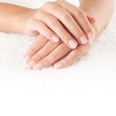 Hands on towel — Stock Photo
