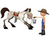 Cartoon farmer with horse — Foto Stock