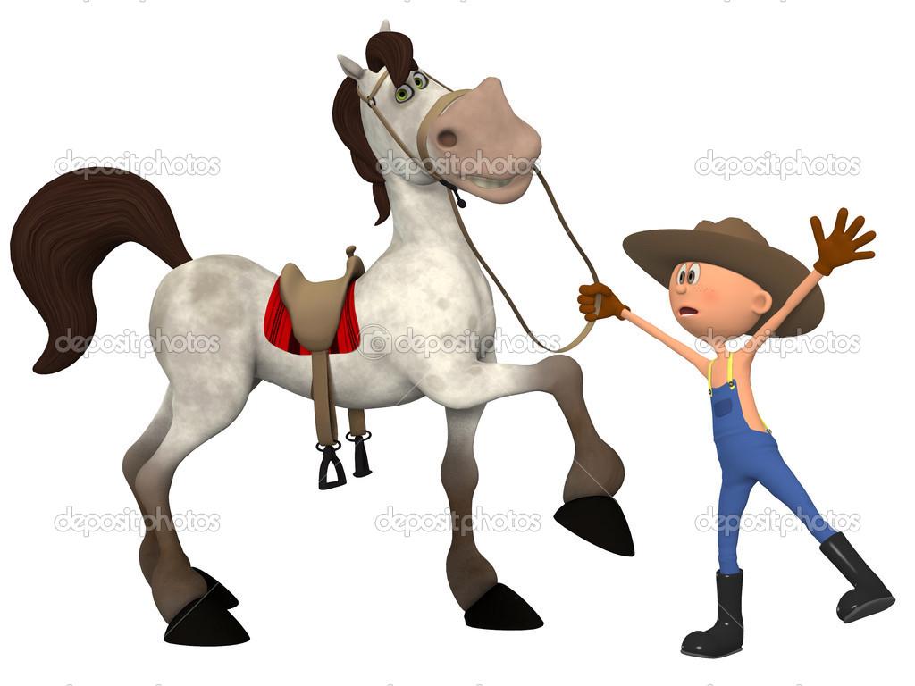 Coltivatore di cartone animato con cavallo — foto stock