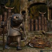 Medieval background with fantasy toon figure — Stock Photo