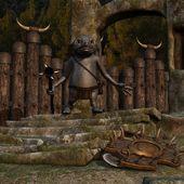 Středověké pozadí s fantasy toon obrázek — Stock fotografie