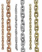 üç tür metal zincirler — Stok fotoğraf