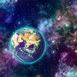 Planet earth and galaxy — Stock Photo